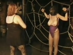 3 Domineer Busty MILFs Take a crack at Fun In a Thraldom Sex Dungeon