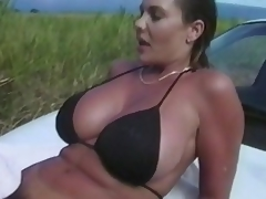 Nothing can stop this pair to do some tricky fucking.  Here they are, in the grassy outdoor... trying to do an adventurous fuck again, and satisfy their cravings.  There's more... take a little peep as they try to fuck right on top of the car, beneath the
