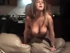 Mature whore with large natural whoppers is screwed from behind, her man is rough with her.