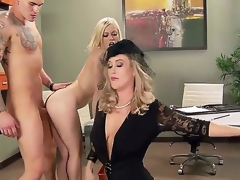 Ash Hollywood,Brandi Love and Clover in astounding hardcore trio porn act