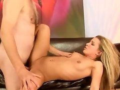 Slutty sexy horny blond doxy Bianca Arden enjoys giving blowjobs and a worthwhile fuck on a chair.