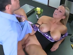 Blonde Abbey Brooks with biggest breasts gets a good hard fucking in hardcore action with Mikey Butders