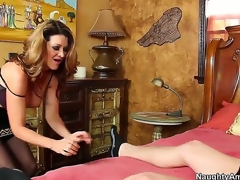 Raquel DeVine seduces Xaner Corvus and shows him how a chic MILF works a dick. She keeps her stockings on as that babe blows him and gives him a titjob previous to jumping on his knob for a ride.