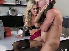 The breasty MILF Sarah Jessie with a zingy beautiful breasts sucks unfathomable hard instrument of the Johnny Sins. After that that guy put her at the table and begins licking and fucking her enjoyable pussy.