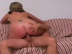 Tall golden-haired chap Jay with hot body and lengthy rock hard cock gets tempted by full figured golden-haired cougar Marie with gigantic juicy whoppers and cheep tattoo on lower back.