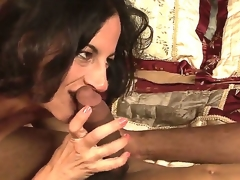 Lusty turned on brunette milf Melissa Monet with natural hanging tits gives head to filthy darksome dude and rides on his jock in bedroom whilst her hubby is at work.