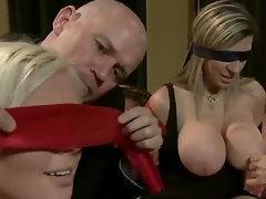Experienced slavemaster older studs Mark Davis and Steve Holmes have a fun swapping their submissive golden-haired wives Sara Jay and Kait Snow with hawt bodies and enrmous breathtaking knockers
