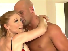 Christian is suddenly aroused by the hot milf Nina Hartley. He understands that that guy cannot escape her attention, unless that guy rams her snatch with full force.