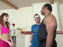 Chad Diamond notices that his wifey Zoe Voss is acting a bit likewise slutty with her gigantic ebony fitness tutor Sledge Hammer and Hes right. Watch him get cuckolded by the two!