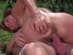 Ilona is a sex obsessed mature woman that gets her many times used desirous pussy banged another time by her young fuck buddy in the open air. She gets her snatch fucked by his unbending 10-Pounder in nature