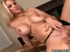 Smoking sexy blonde milf Julia Ann with gigantic firm melons and long legs in black undies gets bald cunny licked by Ramon Nomar and gives him memorable titjob in close up