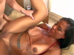 Viana Milian is a smokin' hot milf with tanlined wazoo and boobs, Large boobed dark haired experienced bitch takes guys hard cock so unfathomable in her hairless pussy. See horny mom acquire slam fucked