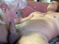 Dana Hayes is s blond-haired granny with great weenie engulfing experience. That babe gives blowjob to well athletic hard cocked guy. That babe sucks his rock hard pecker non-stop and cant acquire enough. Watch dirty oldie blow!