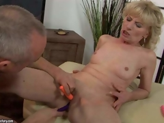 Bare older blonde Margarette widens her legs wide and gets her cookie stimulated with the aid of several vibrators. That babe gets squirting orgasm after unthinkable cookie stimulation