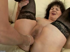 Nasty granny Helena May in dark stockings gets her snatch and dark hole toy fucked by her curious fuck buddy before he inserts his hard dick in her vagina. Watch older woman get enjoyment