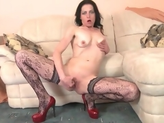 Skinny older in patterned stockings masturbates