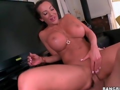 Long shaft fucks hawt pussy of big milk sacks milf