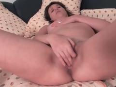 Cute brunette mature masturbates her pussy lustily