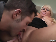Luscious blonde MILF moans while being shagged hard
