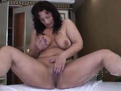 Big ass old honey masturbates in her washroom