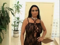 Huge boobs milf in black lingerie sucks dick