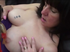 Curvy older has naughty sex with a dildo