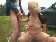 Blond grandmother has 3 some out of doors