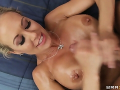 Big boobs babe loves seeing cum discharge onto her chest so tasting