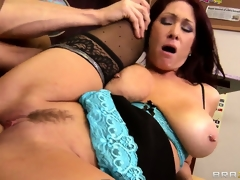 Teacher with biggest knockers rides on a cock with her wet cunt