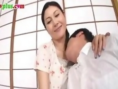 Censored clip of a Japanese MILF gender a much younger man