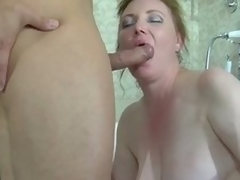 Chubby brunette milf caught in a catch tube receives banged