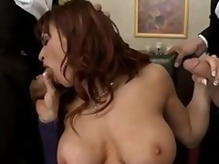 Sexually excited large titted milf Devon Michaels acquires surrounded by 2 elegant gentlemen that pull out their meaty ramrods for her. Se eats their knobs and hale acquires say no to cum-hole slammed by one of these large poles.