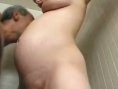 Preggy milf Becky Cumisha gets caressed with the addition of drilled from behind