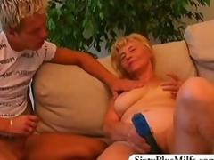 Teen boy fuckes a morose GILF