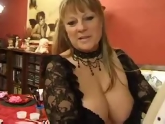 Fat mature with huge tits has group sex
