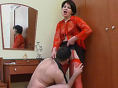 Hawt mom in red nylons getting to facesitting previous to wild muff-splitting